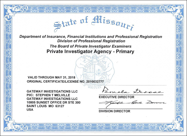 Private Investigator in St. Louis, Missouri & Illinois - License